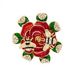 Napier Gold and Coral Flower Critter Pin