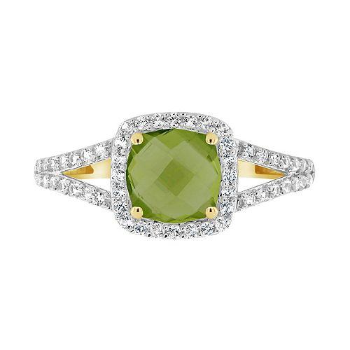 10K Yellow Gold 7mm Cushion Gemstone Ring