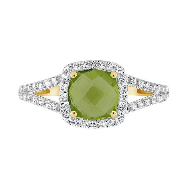 10K Yellow Gold 7mm Cushion Gemstone Ring, Women's, Size: 8, Green