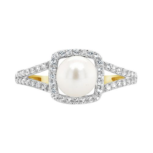 10K Yellow Gold 7mm Pearl & Created White Sapphire Ring