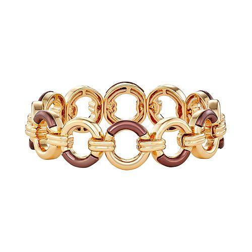 Women's Dana Buchman Stretch Bracelet - Gold/Brown Gold