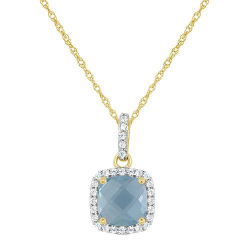 10K Yellow Gold 7mm Cushion Gemstone Pendant Necklace