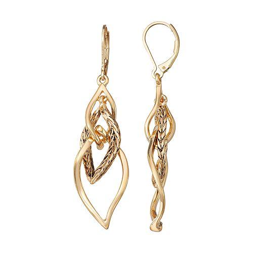 Women's Dana Buchman Linear Leverback Drop Earrings - Gold