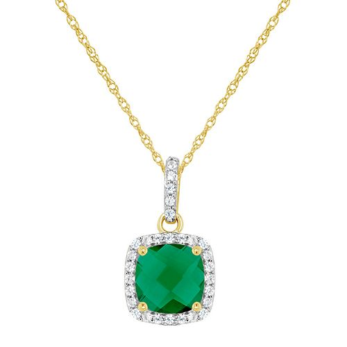 10K Yellow Gold 7mm Cushion Simulated Emerald & Created White Sapphire Pendant Necklace