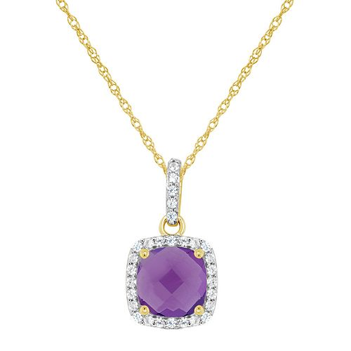 10K Yellow Gold 7mm Cushion Pendant Necklace