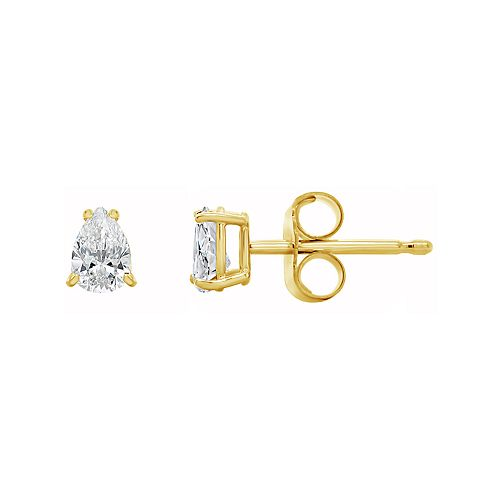 14K Gold 1/2 Carat T.W. IGI-Certified Diamond Pear-Shaped Stud Earrings