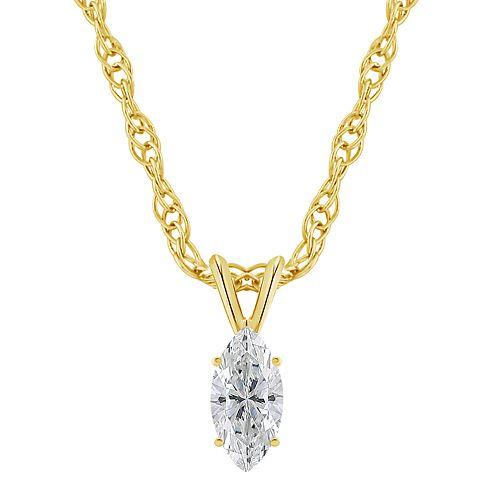 14K Gold 1/4 Carat T.W. IGI-Certified Diamond Marquise Pendant Necklace