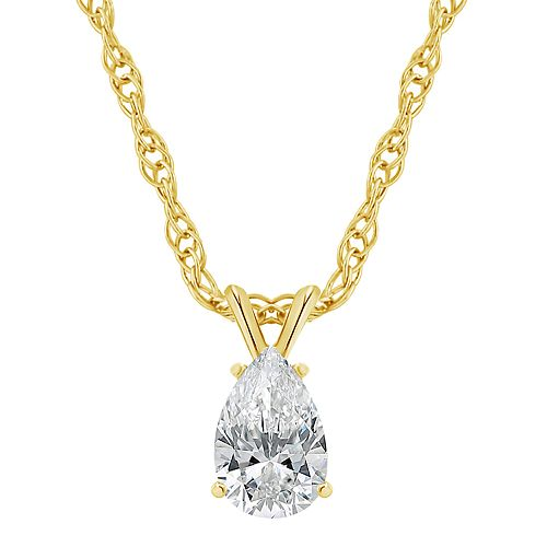 14K Gold 1/4 Carat T.W. IGI-Certified Diamond Pear-Shaped Pendant Necklace