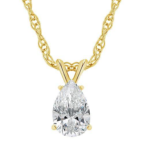 14K Gold 1/2 Carat T.W. IGI-Certified Diamond Pear Shaped Pendant Necklace