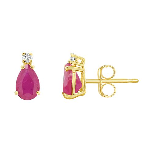 14K Gold Pear-Shaped Diamond Accent Gemstone Earrings