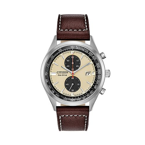 Citizen Eco-Drive Men's Chandler Brown Leather Chronograph Watch