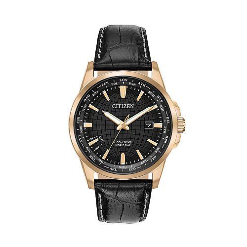 Citizen Eco-Drive Men's World Time Black Leather Watch