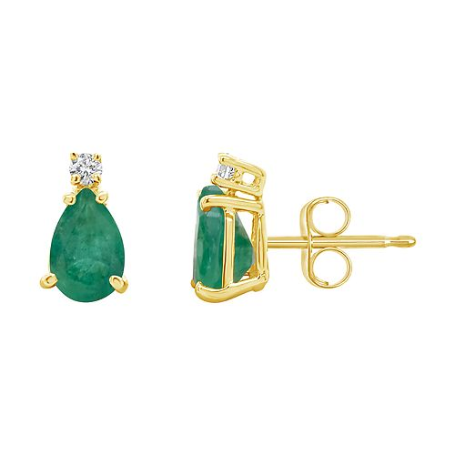 14K Gold Pear-Shaped Emerald & Diamond Accent Earrings