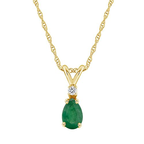 14K Yellow Gold Pear-Shaped Emerald & Diamond Accent Pendant Necklace