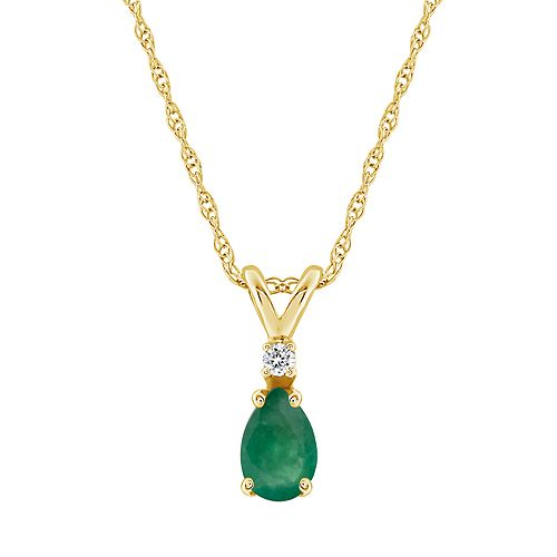 14K Yellow Gold Pear-Shaped Emerald & Diamond-Accent Pendant Necklace