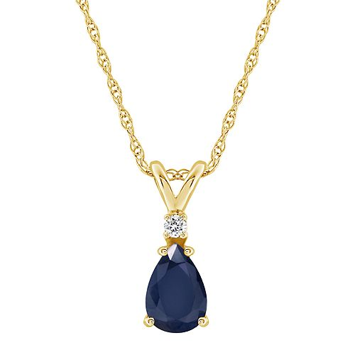 14K Yellow Gold Pear-Shaped Gemstone & Diamond-Accent Pendant Necklace