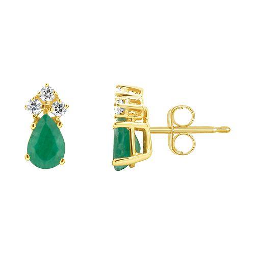 14K Yellow Gold Pear-Shaped Emerald 1/8 Carat T.W. Diamond Earrings