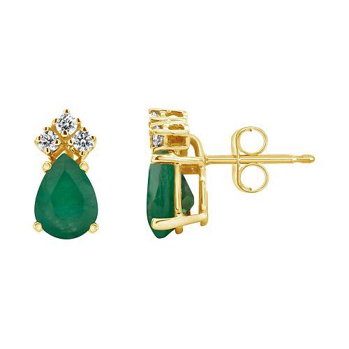 14K Yellow Gold 7x5 Pear-Shaped Emerald & 1/8 Carat T.W. Diamond Earrings