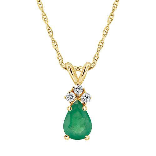 14k Gold Emerald & Diamond Accent Teardrop Pendant