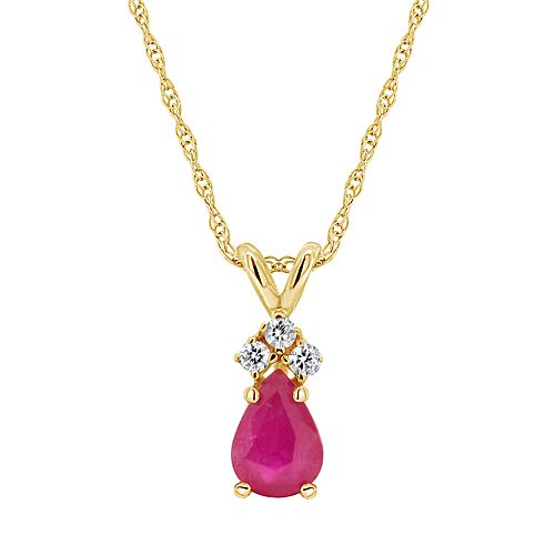 14K Yellow Gold 7x5 Pear Shaped Gemstone & Diamond Accent Pendant Necklace