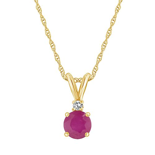 14K Yellow Gold 5mm Round Ruby Diamond Accent Pendant Necklace