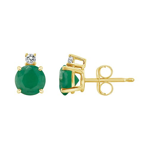 14K Yellow Gold 5mm Round Emerald Diamond Accent Earrings
