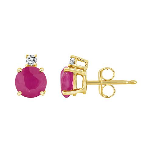 14K Yellow Gold 5mm Round Ruby Diamond Accent Earrings