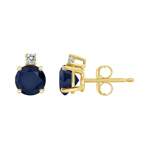 14K Yellow Gold 5mm Round Sapphire Diamond Accent Earrings