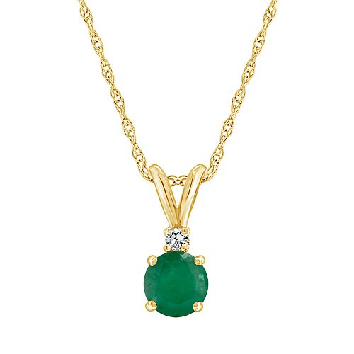 14K Yellow Gold 5mm Round Emerald Diamond Accent Pendant Necklace