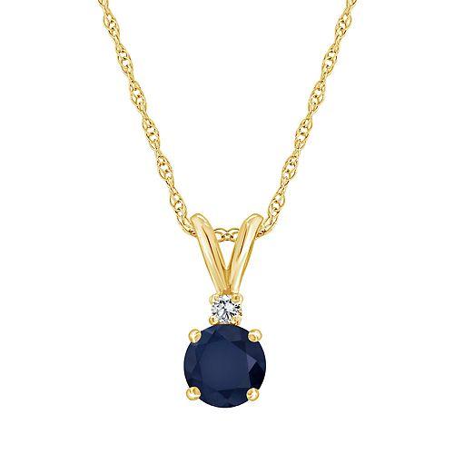14K Yellow Gold 5mm Round Sapphire Diamond Accent Pendant Necklace