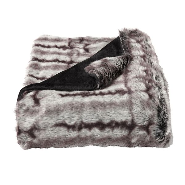 Portsmouth Home Chinchilla Faux Fur Throw Blanket