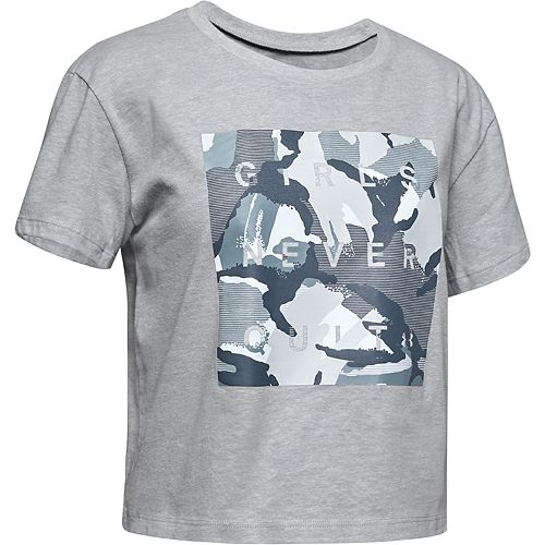"""Girls 7-16 Under Armour Printed """"Girls Never Quit"""" Graphic Tee"""