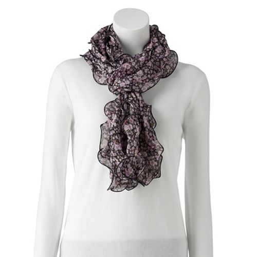 Women's Chaps Ditsy Floral Double Ruffle Scarf