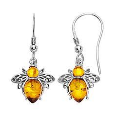 Sterling Silver Amber Bee Dangle Earrings