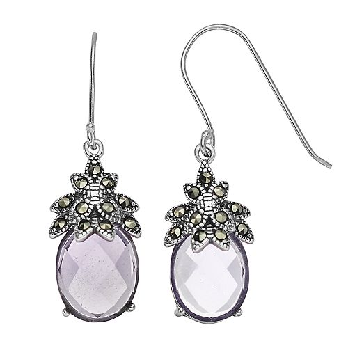 Tori Hill Sterling Silver Purple Glass & Marcasite Faceted Dangle Earrings