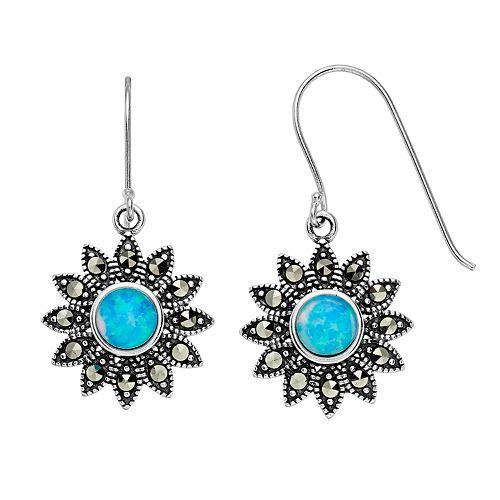 Tori Hill Sterling Silver Simulated Opal & Marcasite Flower Dangle Earrings