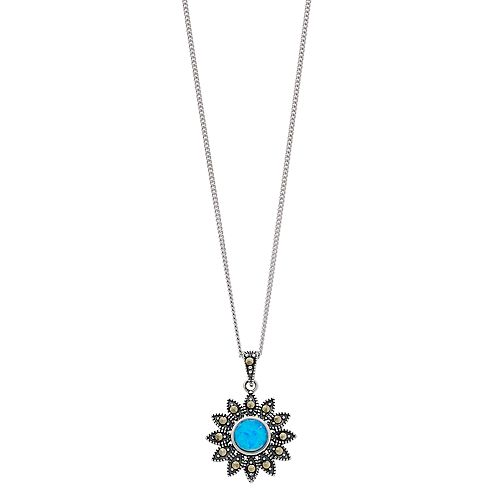 Tori Hill Sterling Silver Simulated Opal & Marcasite Flower Pendant Necklace