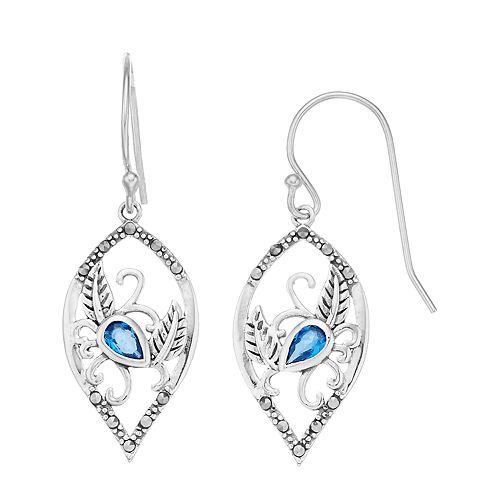 Tori Hill Sterling Silver Marcasite & Blue Glass Swan Dangle Earrings