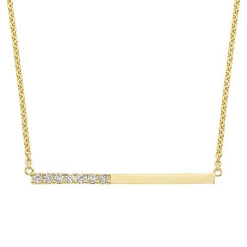 10k Gold Diamond Accent Bar Necklace