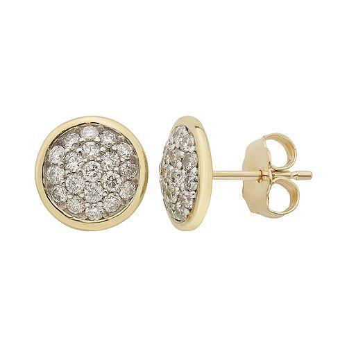 10k Gold 1/2 Carat T.W. Diamond Disc Earrings