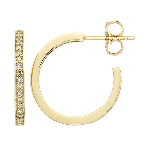 10k Gold 1/4 Carat Diamond Hoop Earrings