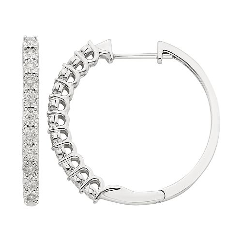 10k White Gold 1/4 ct. T.W. Diamond Huggie Hoop Earrings