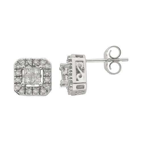 10k White Gold 1/2 Carat T.W. Diamond Square Stud Earrings