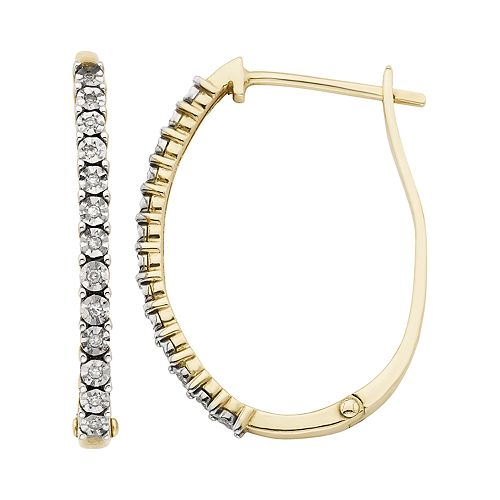 10k Gold Diamond Accent Hoop Earrings