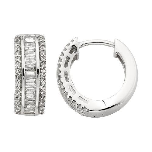 10k White Gold Diamond Huggie Hoop Earrings