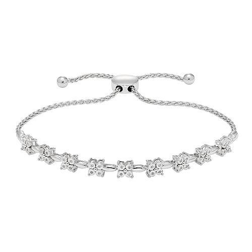 Sterling Silver 1/10 ct. T.W. Diamond Adjustable Bracelet