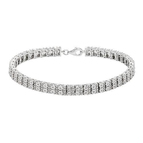 Sterling Silver 1/4 ct. T.W. Diamond Miracle Frame Bracelet