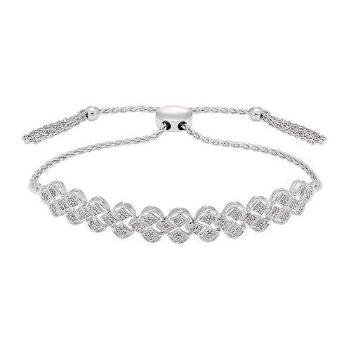 Sterling Silver 1/3 Carat T.W. Diamond Adjustable Bracelet