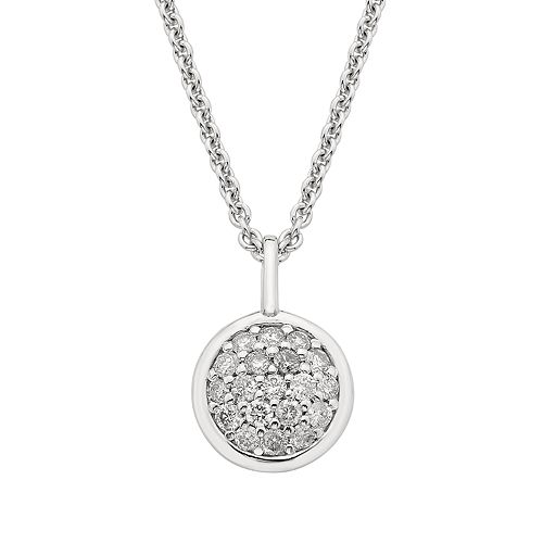 Sterling Silver 1/4 ct. T.W. Diamond Disc Necklace