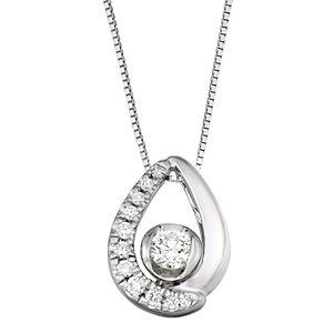 Sirena 14k White Gold 1/4 Carat T.W. Diamond Teardrop Pendant Necklace